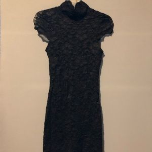 Black lace mini dress key hole back high neck